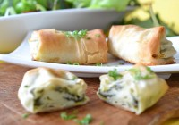 Phyllo dough packets with spinach and feta cheese