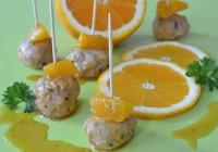 Chicken meatballs in orange sauce