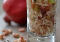 Reissalat mit Granatapfel und Nordseekrabben