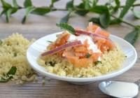 Minzcouscous mit Birnen-Möhrensalat und Zitronendressing