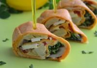 Wraps mit Hummus, Artischocke, Paprika und Feta